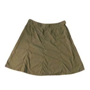 LL Bean green cotton gored a-line skirt, size 14